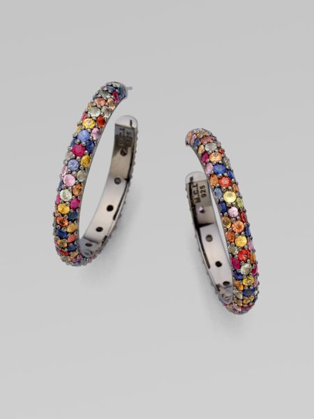 M.c.l By Matthew Campbell Laurenza Multicolored Sapphire Pavé Hoop Earring in Multicolor (multi) - Lyst