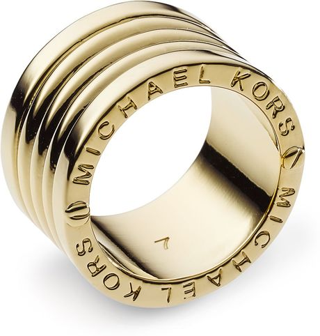 Michael By Michael Kors Barrel Ring, Golden in Gold - Lyst