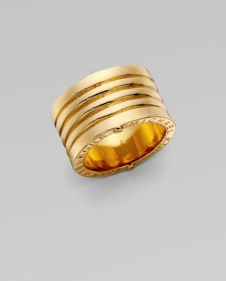 Michael Kors Goldtone Ribbed Ring in Gold