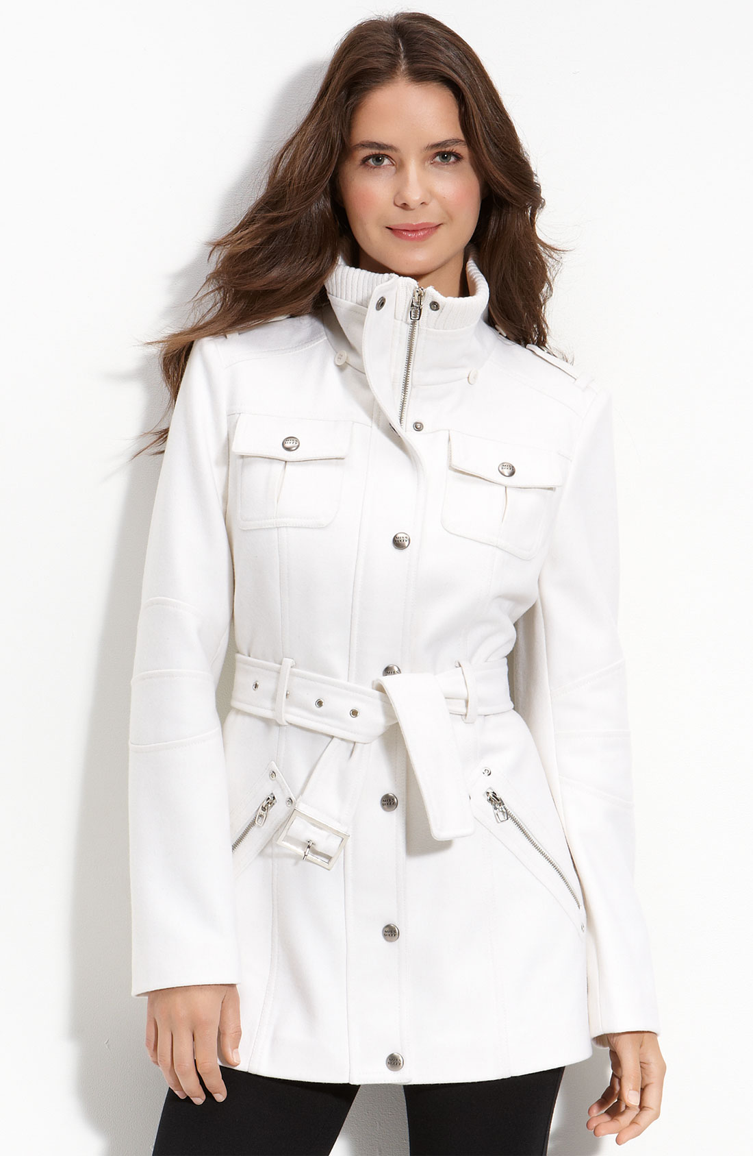 Miss Sixty Belted Wool Blend Jacket In White Ivory Lyst