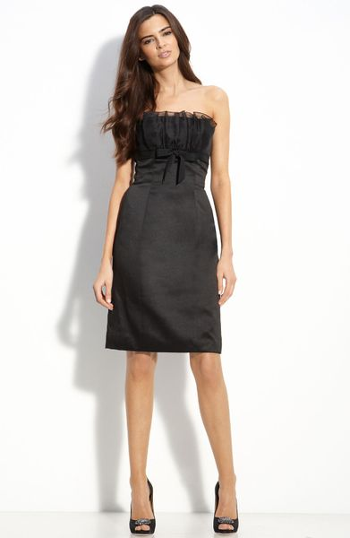 Ml Monique Lhuillier Bridesmaids Strapless Satin Dress (nordstrom Exclusive) in Black - Lyst