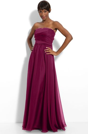 Ml Monique Lhuillier Bridesmaids Strapless Chiffon Gown  - Lyst