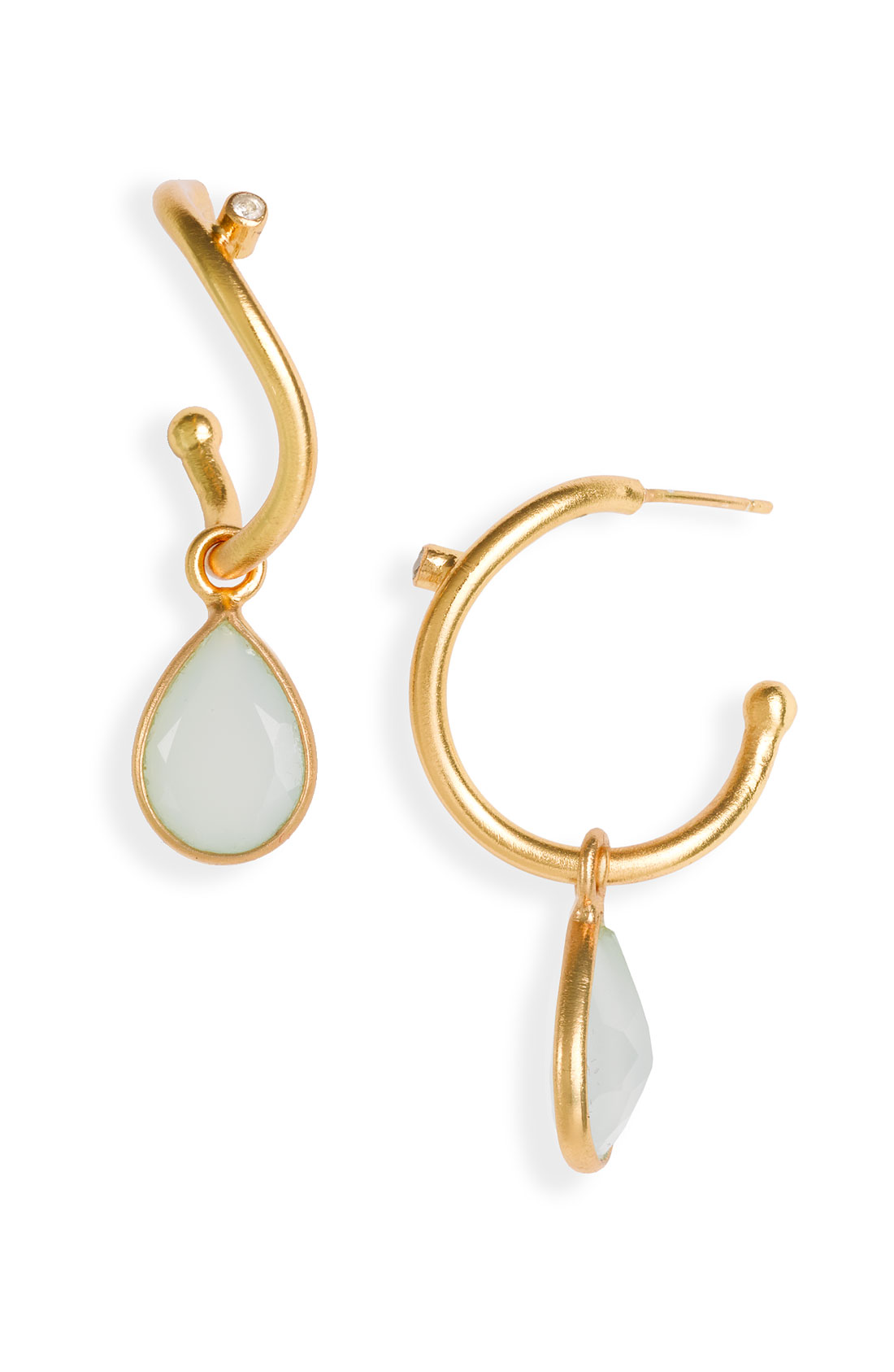 nunu designs small semiprecious drop hoop earrings in gold