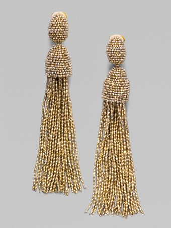 Oscar de la Renta Hematite Seed Beaded Fringe Earrings - Lyst