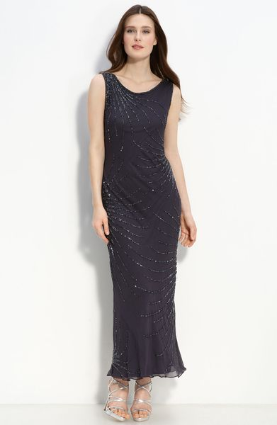 Pisarro Nights Beaded Mesh Gown in Gray (gun/ gun) - Lyst