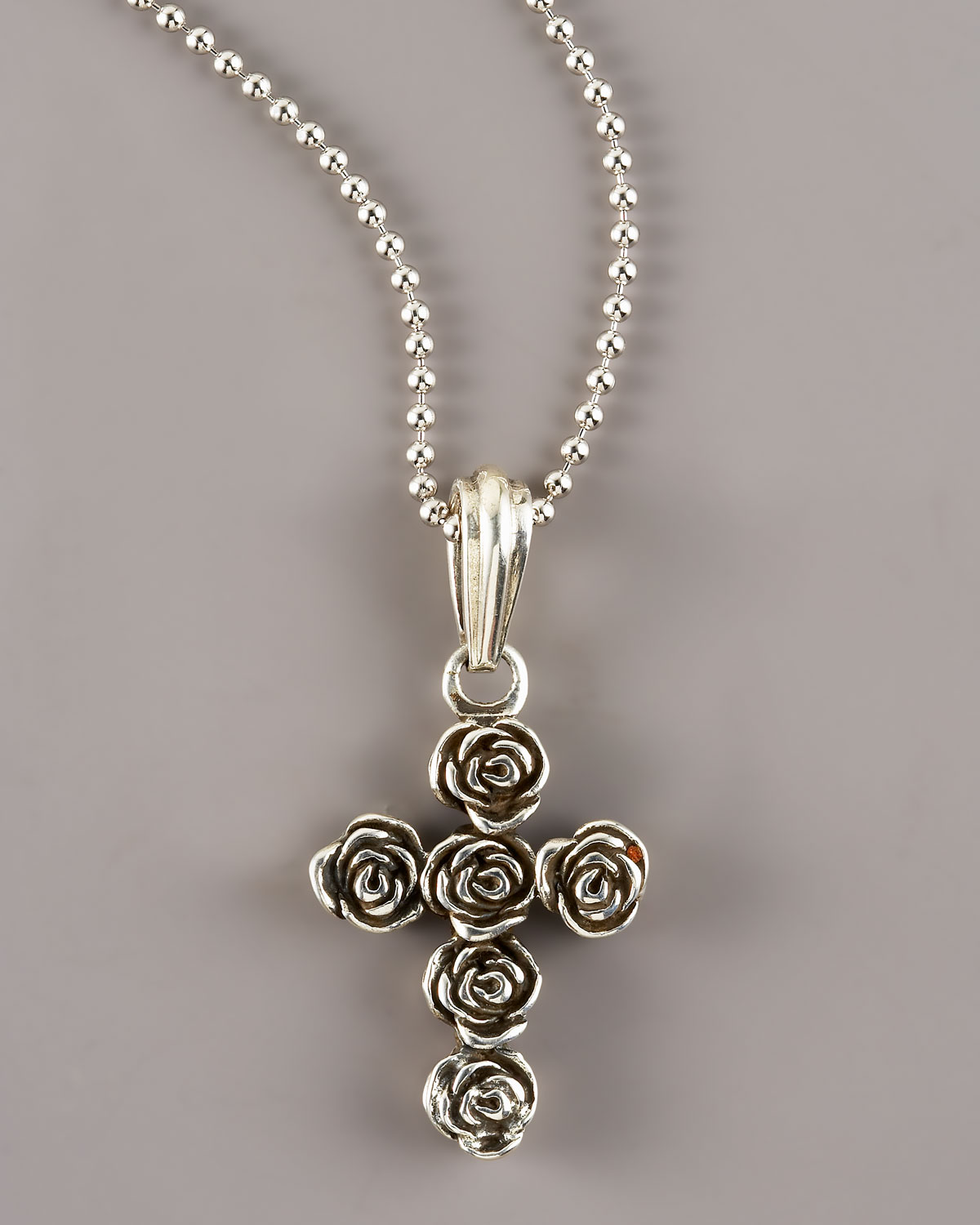 queen baby rose cross pendant in silver lyst