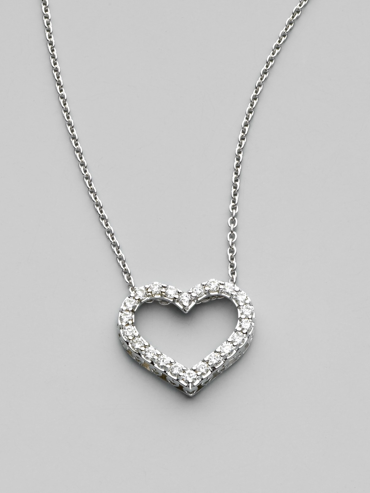 Roberto coin Diamond & 18k White Gold Open Heart Necklace ¾ in