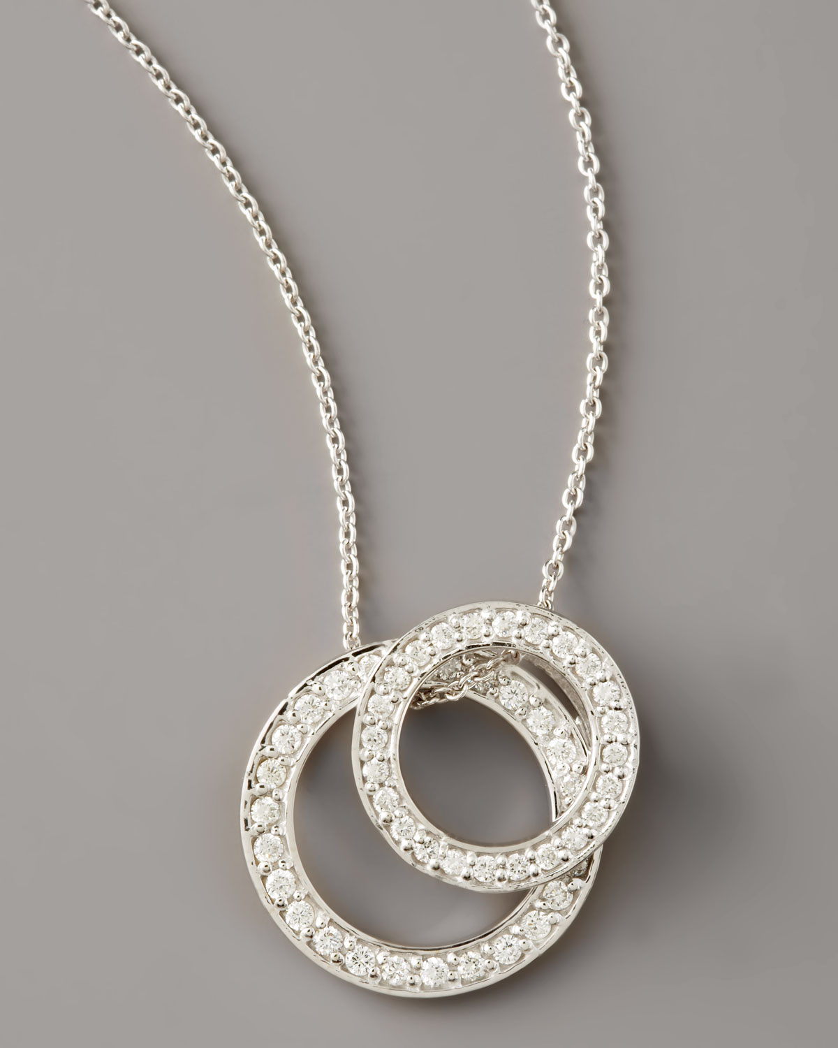 Lyst roberto coin pave diamond double circle necklace in white gallery aloadofball Images