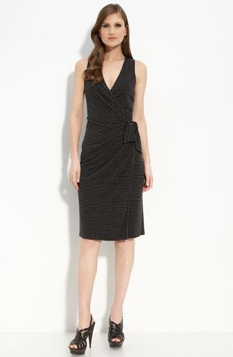 St. John Evening Matte Jersey Faux Wrap Dress - Lyst