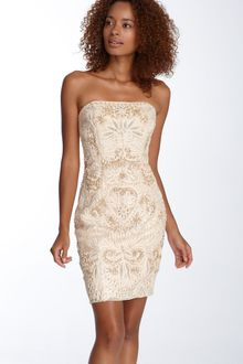 Sue Wong Embellished Strapless Sheath Dress - Lyst