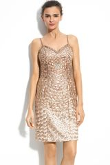 Sue Wong Sequin & Embroidered Sheath Dress - Lyst