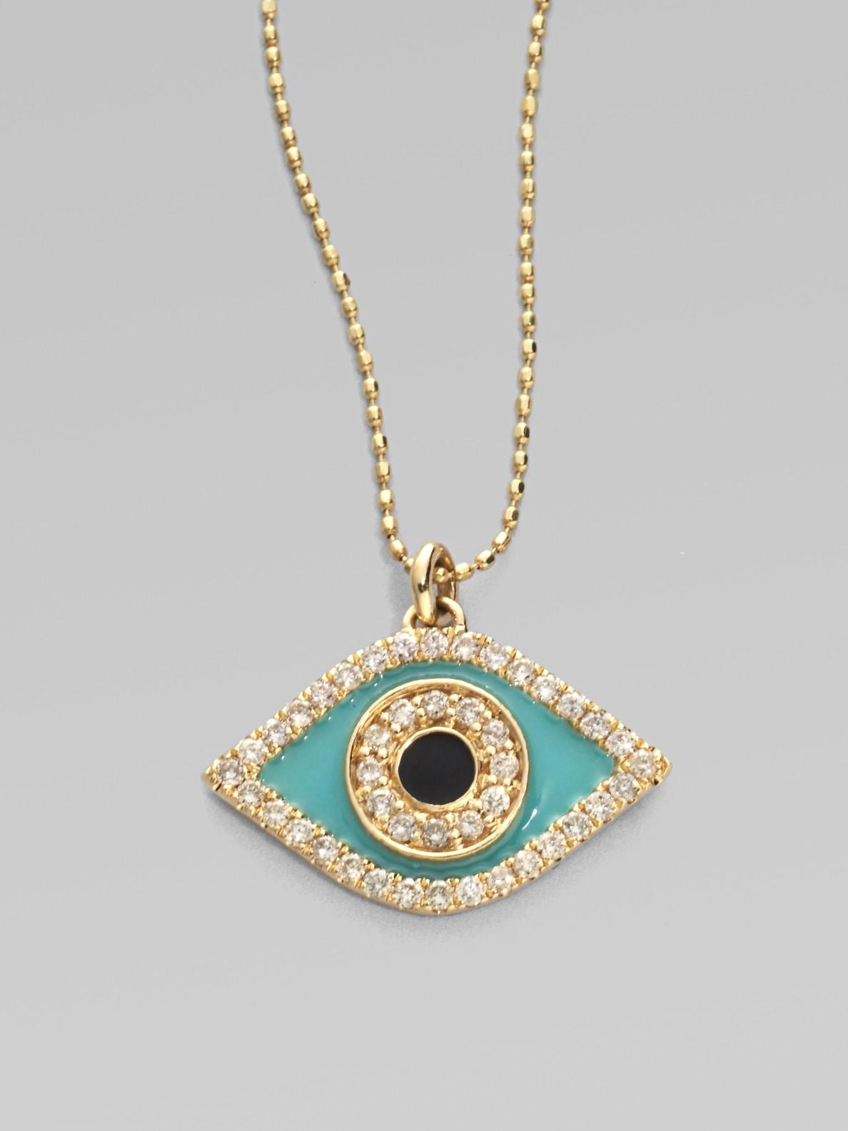 Sydney Evan Small Turquoise Cabochon Evil Eye Pendant Necklace w/Diamonds kyfF7