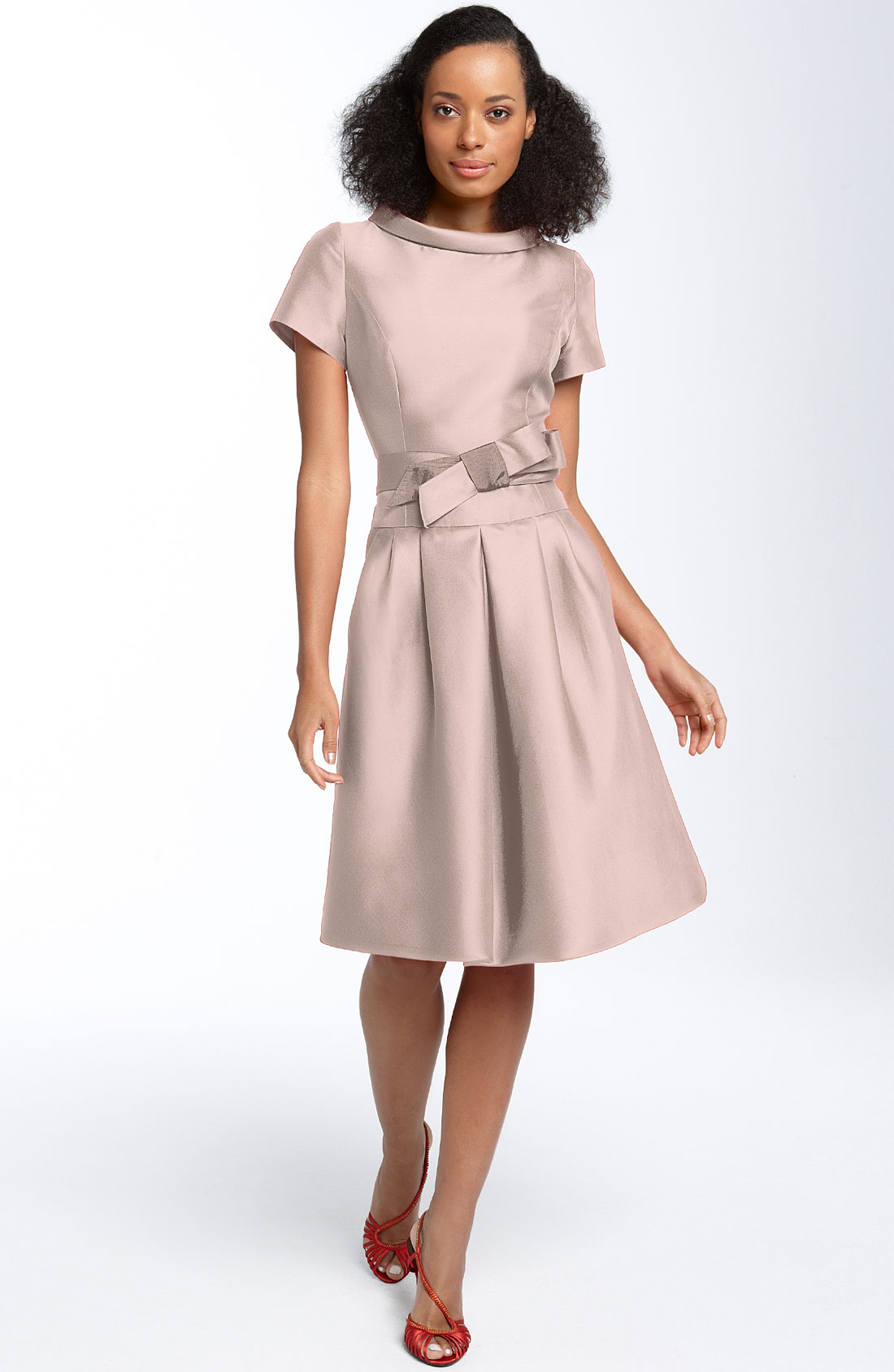 Teri Jon Roll Neck Party Dress in Pink (blush)