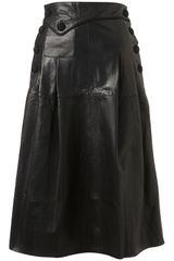 Topshop Leather Midi Skirt By Unique** in Black - Lyst