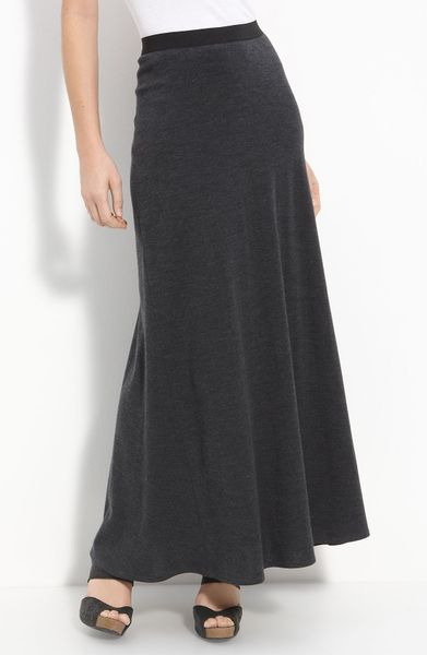 vince wool knit maxi skirt in gray charcoal lyst