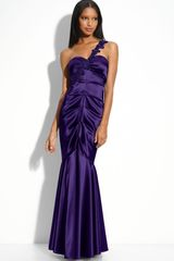 Xscape Beaded Satin Mermaid Gown - Lyst