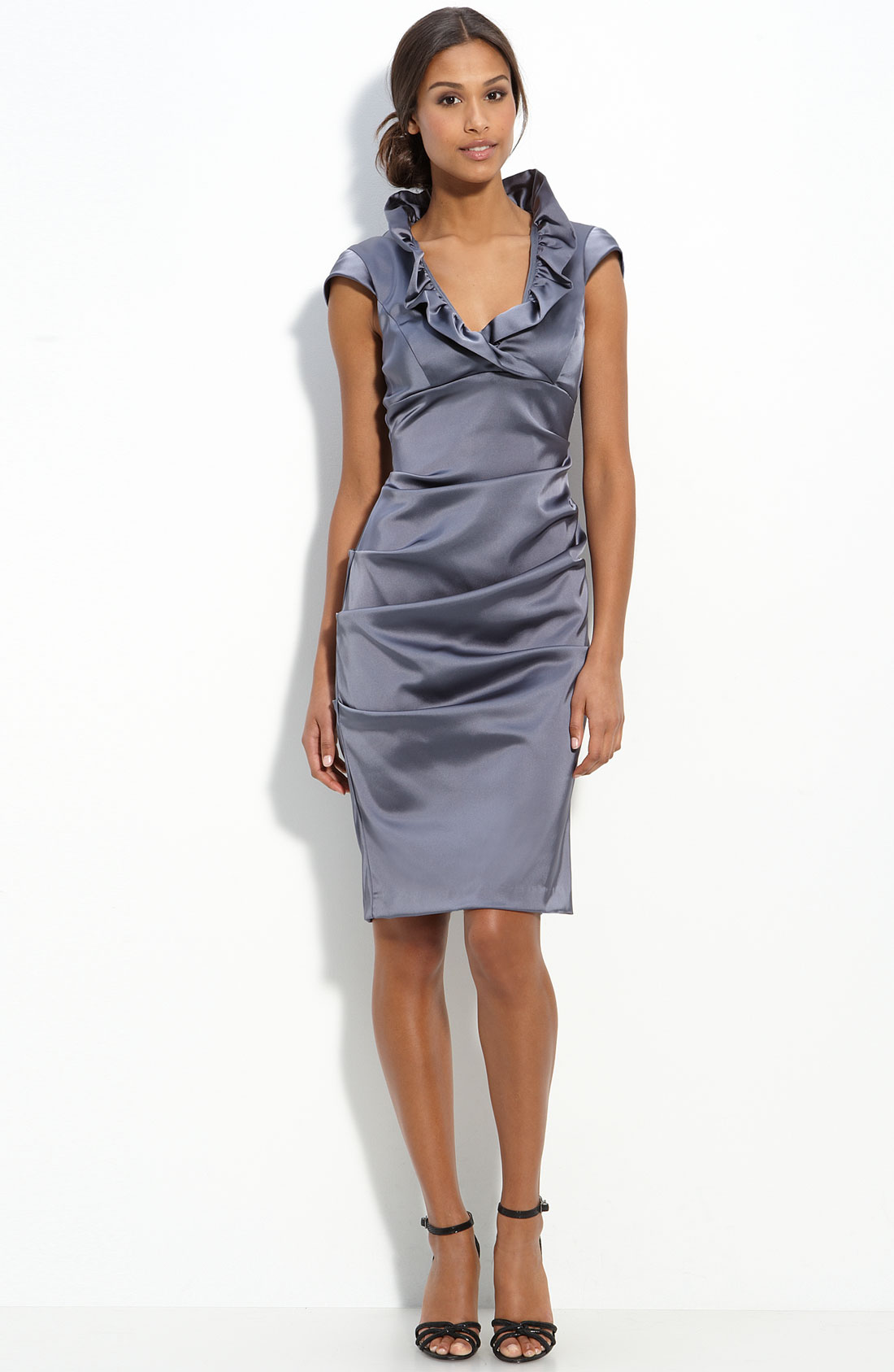 Xscape Ruffle Collar Stretch Satin Sheath Dress in Gray