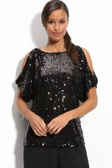 Adrianna Papell Sequin Dolman Sleeve Top