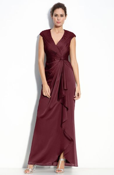 Adrianna Papell Faux Wrap Chiffon Gown in Purple (wine)