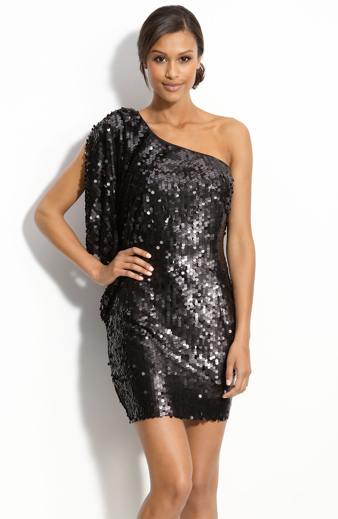Aidan mattox Aidan By Matte Sequin One Shoulder Dress in Black | Lyst