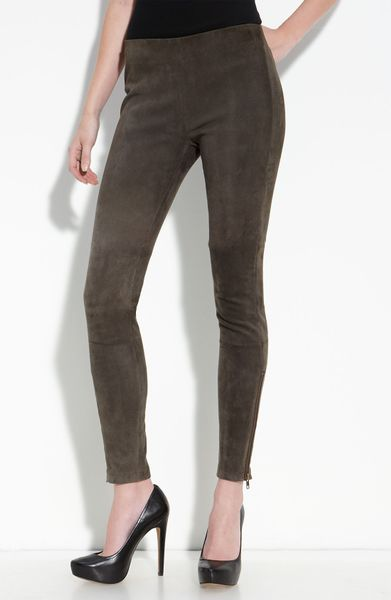 Current/elliott The Pull Up Suede Leggings in Brown (washed castle) - Lyst