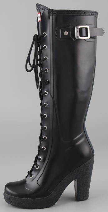 Hunter Lapins Lace Up High Heel Boots In Black Lyst