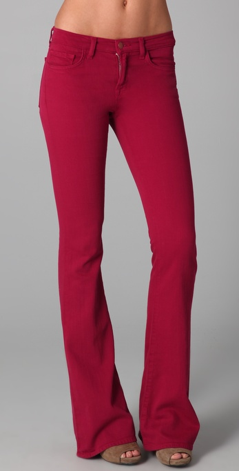 J brand Martini Skinny Flare Jeans in Red | Lyst