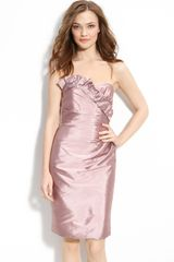 Ml Monique Lhuillier Bridesmaids Satin Ruffle Trim Strapless Dress (nordstrom Exclusive) - Lyst
