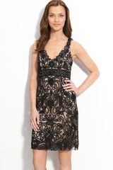 Sue Wong Ribbon Trim Illusion Dress - Lyst