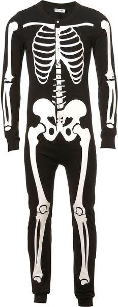 Topman Black Skeleton All In One In Black For Men Lyst