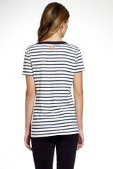 Tory Burch De La Vega Tee in White - Lyst