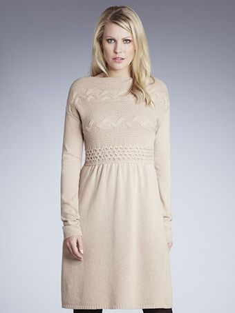 Weekend By Maxmara Cable Knit Dress Camel - Lyst