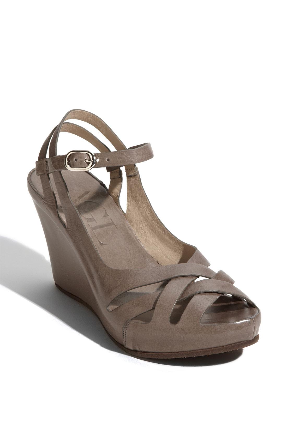 attilio giusti leombruni wedge sandal in gray grey lyst