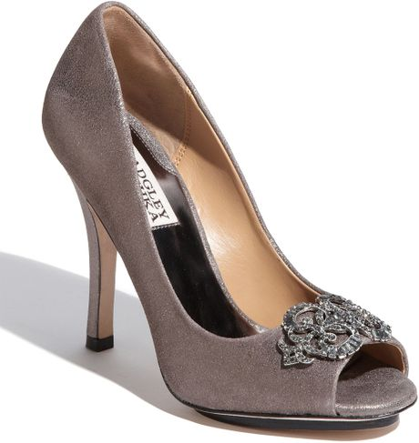 Badgley Mischka Womens Susan Open Toe Pump in Silver (pewter) - Lyst