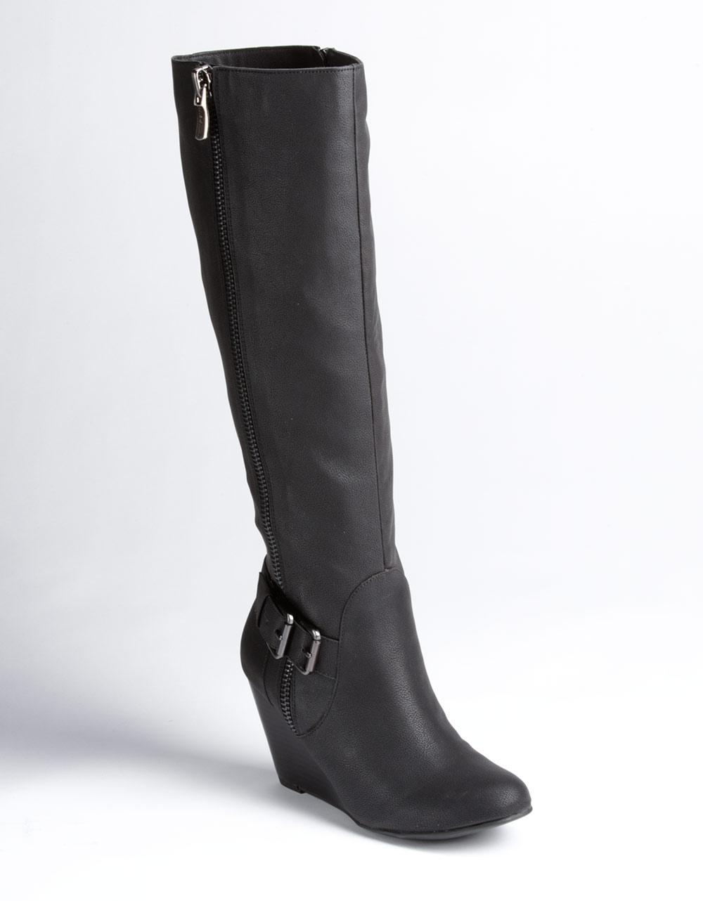 bcbgeneration watson wedge heel boots in black black