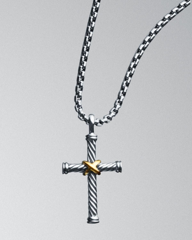 c34ff2d70cf2 Lyst - David Yurman Cable Classics Cross Necklace in Metallic for Men