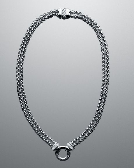 David Yurman Pave Double Wheat Chain Necklace 16l In