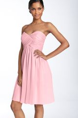 Donna Morgan Strapless Silk Chiffon Dress - Lyst