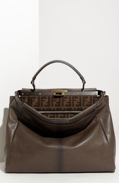 Fendi Peekaboo  Large Goatskin Leather Satchel in Gray (grey) - Lyst