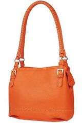 Fontanelli Orange Stiched Soft Leather Handbag - Lyst