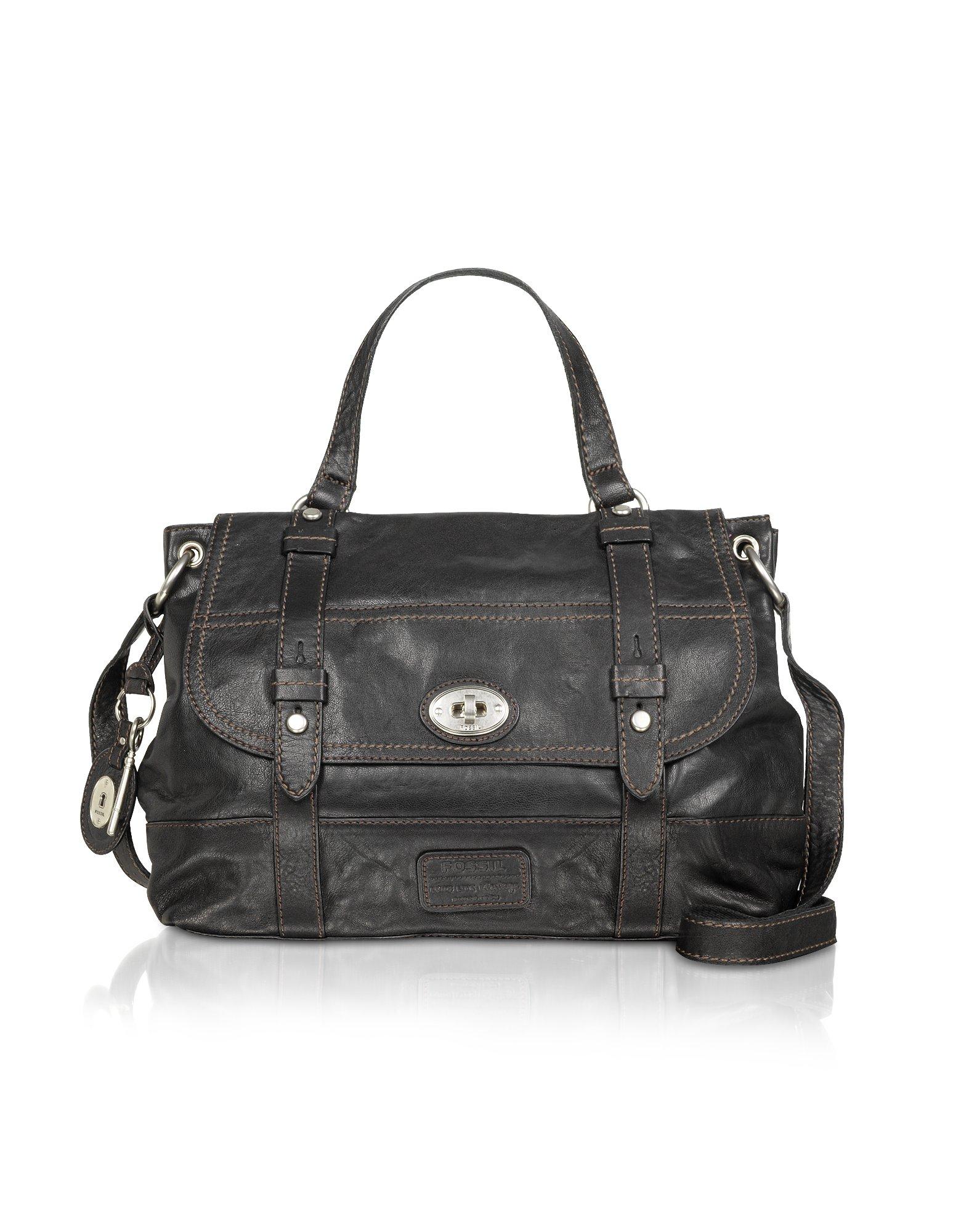 Fantastic Fossil Womenu0026#39;s Morgan North/South Top Zip Leather Messenger Bag Satchel - Black - Walmart.com