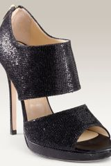 Jimmy Choo Private Cuff Glitter Fabric Sandal in Black (black glitter fabric) - Lyst