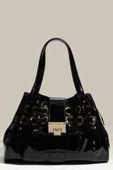 Jimmy Choo Small Patent Leather Shopper - Lyst