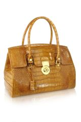 L.a.p.a. Camel Croco Stamped Genuine Leather Satchel Bag - Lyst