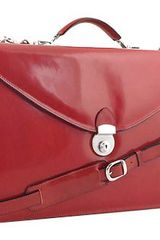 L.a.p.a. Ruby Red Double Gusset Leather Briefcase - Lyst