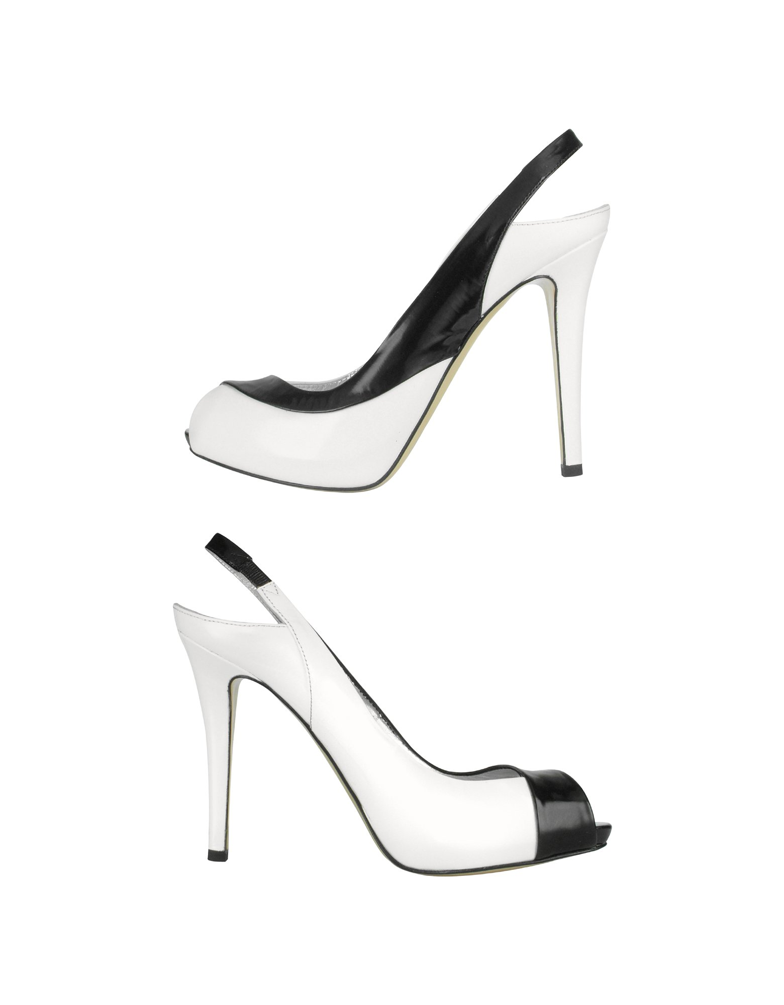 b2eab17abd Lyst - Mario Bologna Black and White Patent Leather Slingback Shoes ...