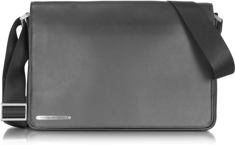 Porsche Design Black Leather Messenger Bag in Black for Men - Lyst