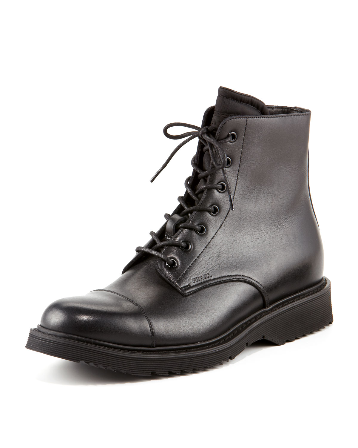 prada leather work boot in black for lyst