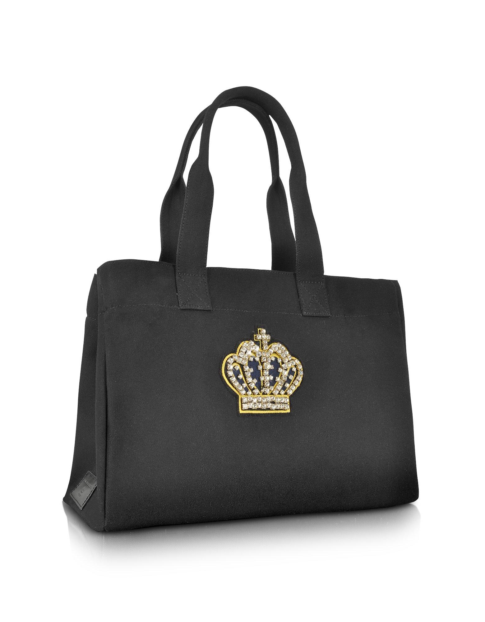 rue princesse pop couture crown canvas tote bag in black. Black Bedroom Furniture Sets. Home Design Ideas
