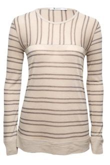T By Alexander Wang Striped Long Sleeve T - Lyst